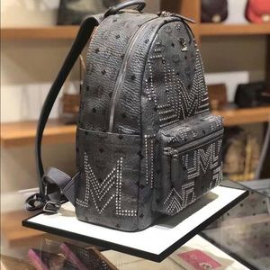 MCM Grey Stark 40 Coated Canvas Studded Backpack